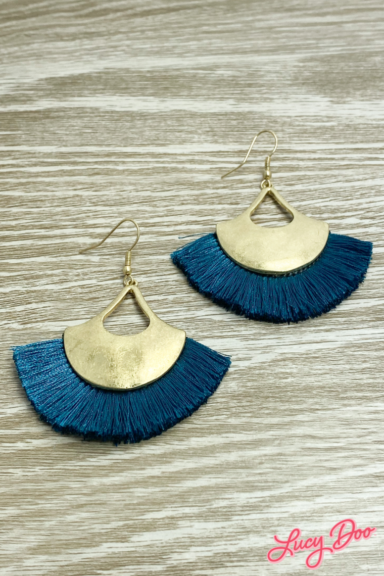 Teal Tassel & Matte Gold Earrings