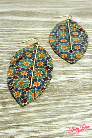 Blue Orange Purple Leather Earrings