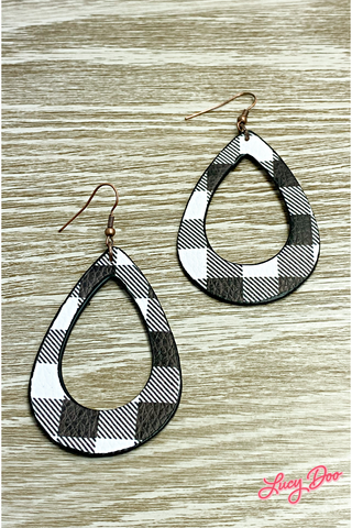 Black & White Buffalo Check Teardrop Earrings