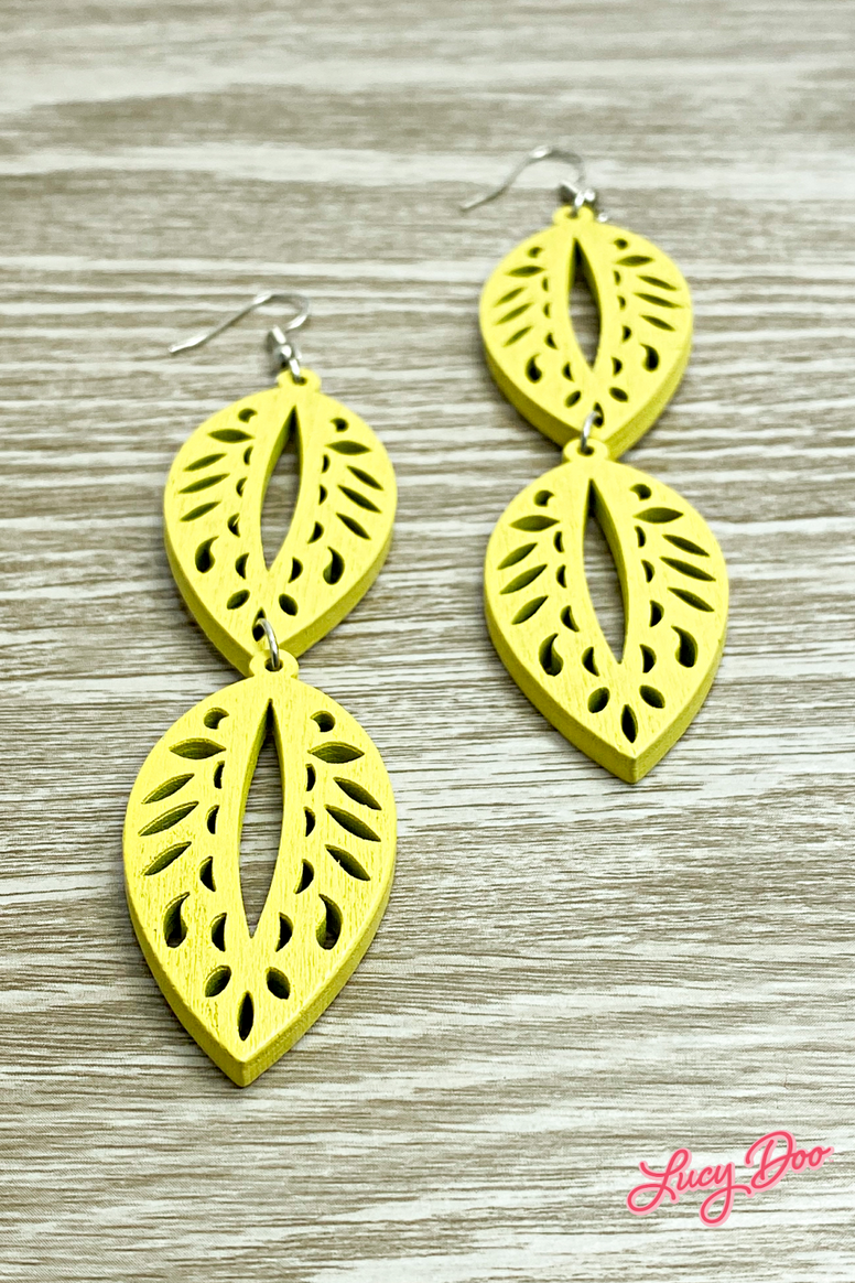Yellow Wooden Leaf Drop Earrings