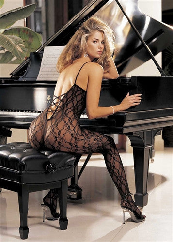 Lace Body Stocking with Criss-Cross Back, Open Front - Black