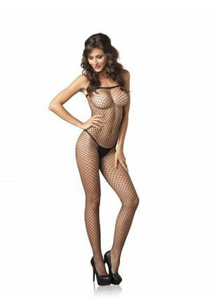 Seamless Spandex Industrial Net Spaghetti Strap Bodystocking-Black