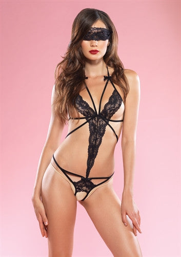 Cage Strap Lace Teddy With Blindfold - Black