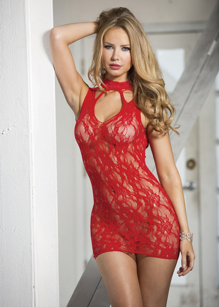 Stretch Lace Chemise with Lace Neckband