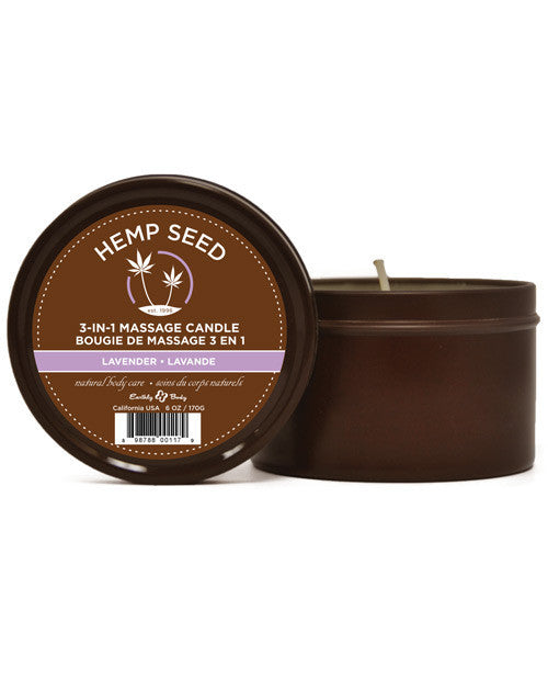 Earthly Body Hemp Seed Massage Candle - Lavender