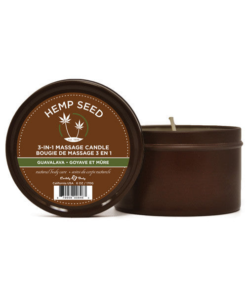 Earthly Body Hemp Seed Massage Candle - Guavalava