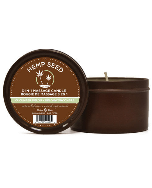 Earthly Body Hemp Seed Massage Candle - Cucumber Melon