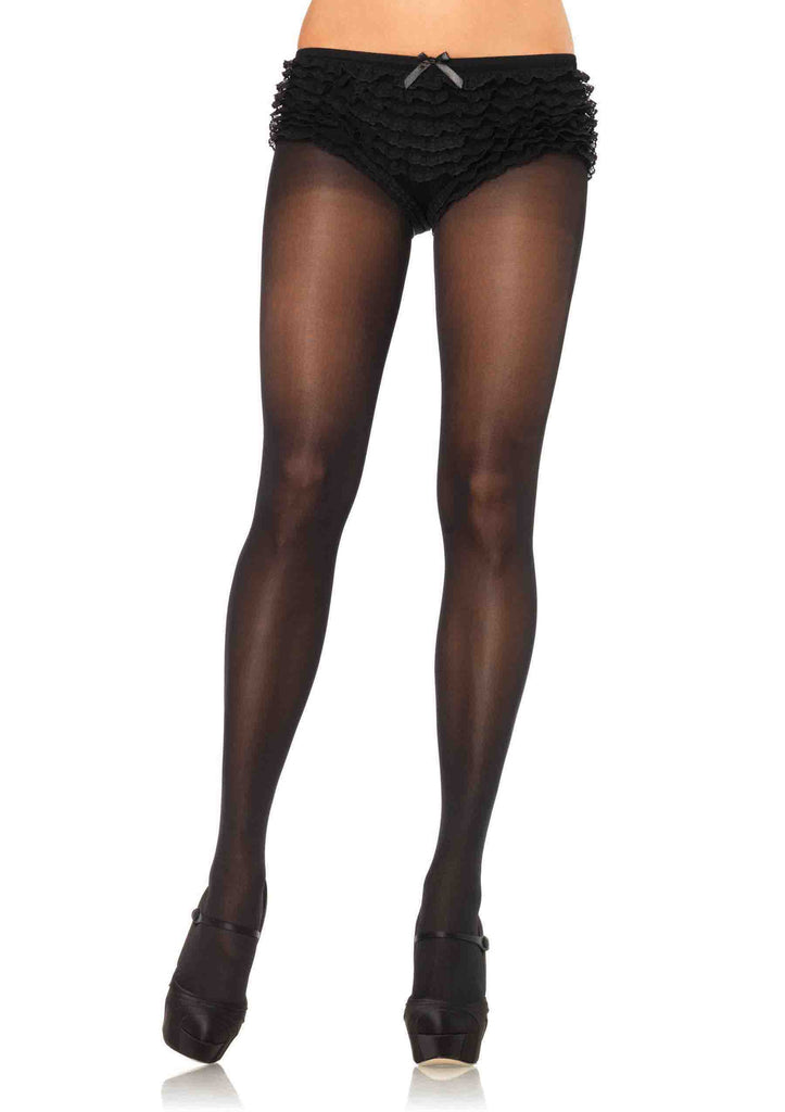 Opaque Tights With Cotton Crotch - Black