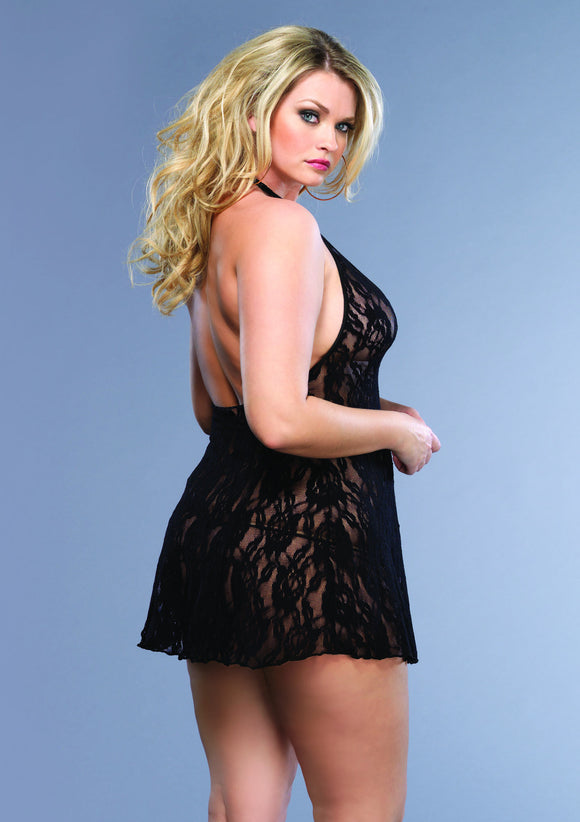 Rose Lace Halter Chemise and G-String - Black - Queen Size