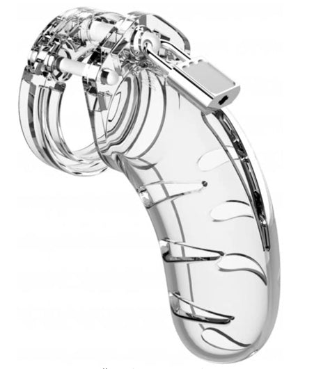 "SHOTS MAN CAGE CHASTITY 4.5"" COCK CAGW MODEL 3 - CLEAR"