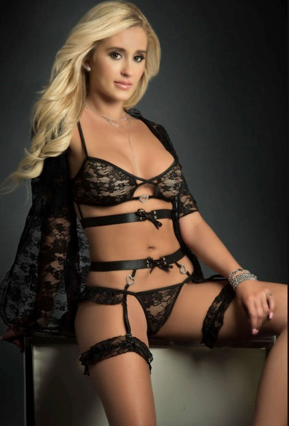 4PC LACE MINI ROBE HIP HUGGER AND BRA LINGERIE SET-BLACK