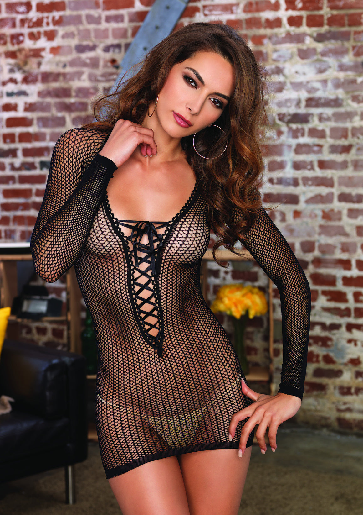 Long Sleeved Net Lace Up Mini Dress - Black