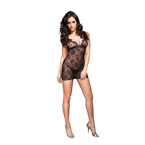 Boudoir Rose Lace Mini Dress-Black