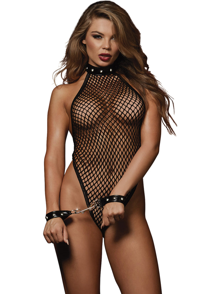 Fishnet Teddy and Restraints