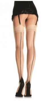 CONTRAST BACKSEAM STOCKINGS-NUDE-ONE SIZE