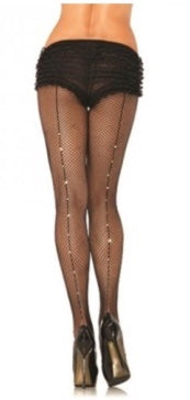FISHNET RHINESTONE BACKSEAM PANTYHOSE-ONE SIZE
