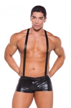 WET LOOK SUSPENDER SHORTS-ONE SIZE-BLACK