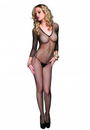 Deep-v Long Sleeved Fishnet Bodystocking-Black