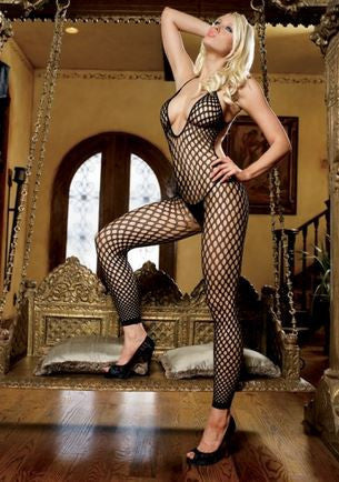 Crochet Net Footless Bodystocking-Black