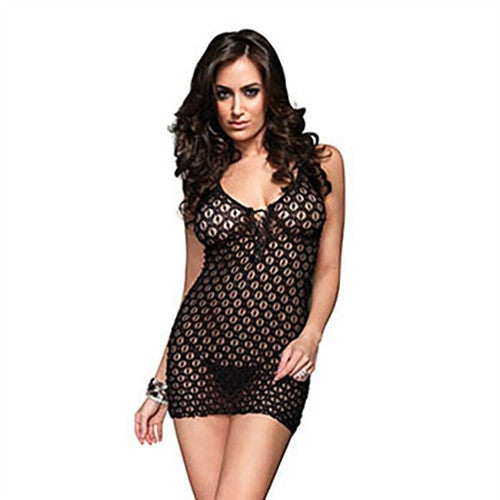 Lace Mini Dress and G-String - Black