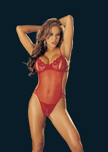 "Lace Stretch Mesh ""Peek-A-Boo"" Crotchless Teddy - Red"