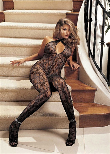 Swirl Lace, Halter Body Stocking, Open Front - Black