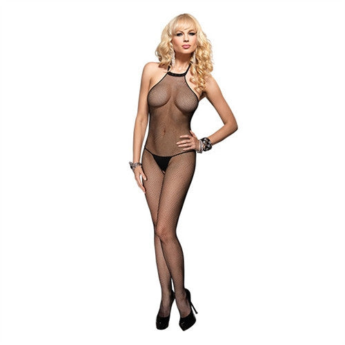 Fishnet High Neck Bodystocking - Black