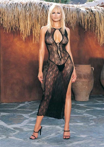 Swirl Lace Long Gown and G-String - Black