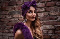 Purple Bow Turban