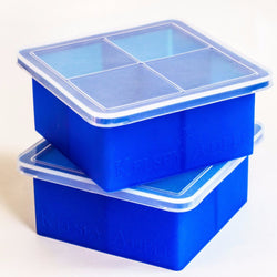 Silicone King Cube Ice Trays With Lids, Set of 2