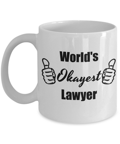 Law Graduate Gifts for Women Men - World's Okayest Lawyer, Funny Coffee Mug to Bring a Good Laugh, 11 Oz Cup, Novelty Graduation Gift Ideas