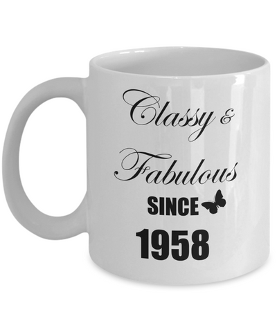 5oth Birthday Gifts for Women - Classy and Fabulous Since 1958, Novelty Coffee Mug, 11 Oz Cup