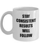 Encouragment Gift - Stay Consistent Results Will Follow Mug, Novelty Encouraging Gift Ideas, 11 Oz Coffee Cup