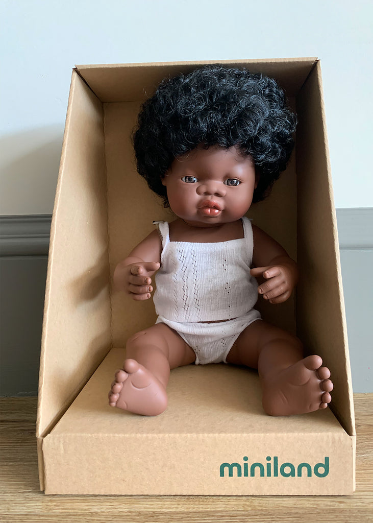 Miniland African Baby Girl Doll (38CM)