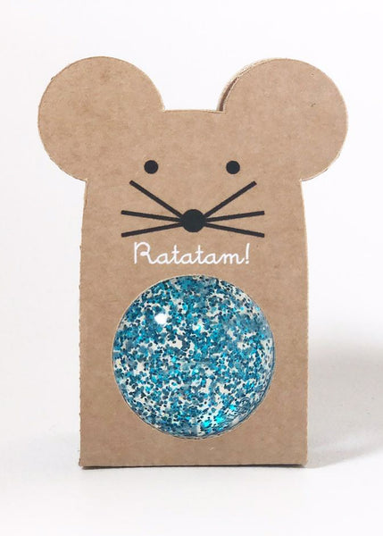 Ratatam Glitter Mouse Bouncy Ball | Blue Glitter