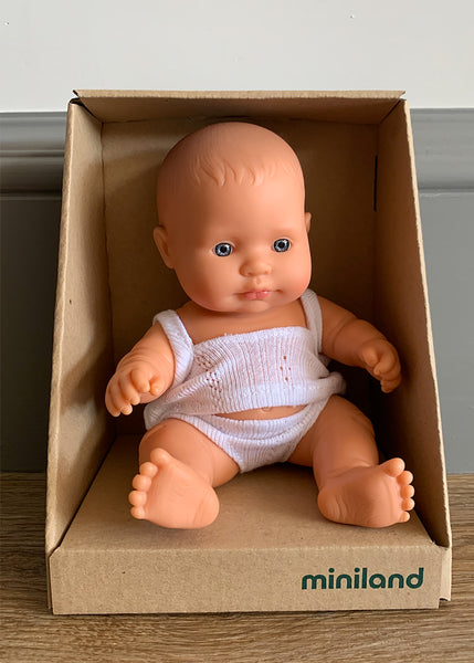 Miniland Caucasian Mini Baby (Boy or Girl) 21cm