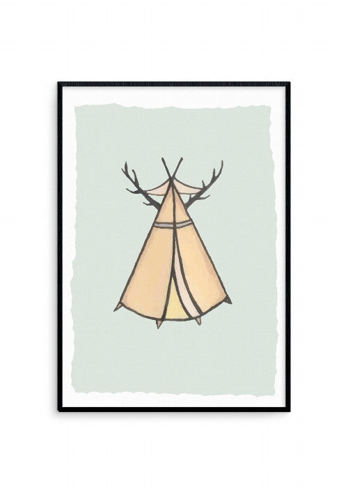 born-lucky-dwellings-antler-teepee-a3-print