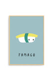 Born Lucky World Sushi Tamago A3 Print