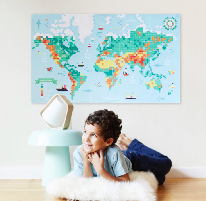 Poppik Creative Sticker Poster: Map of the World | Poster + 1600 Stickers