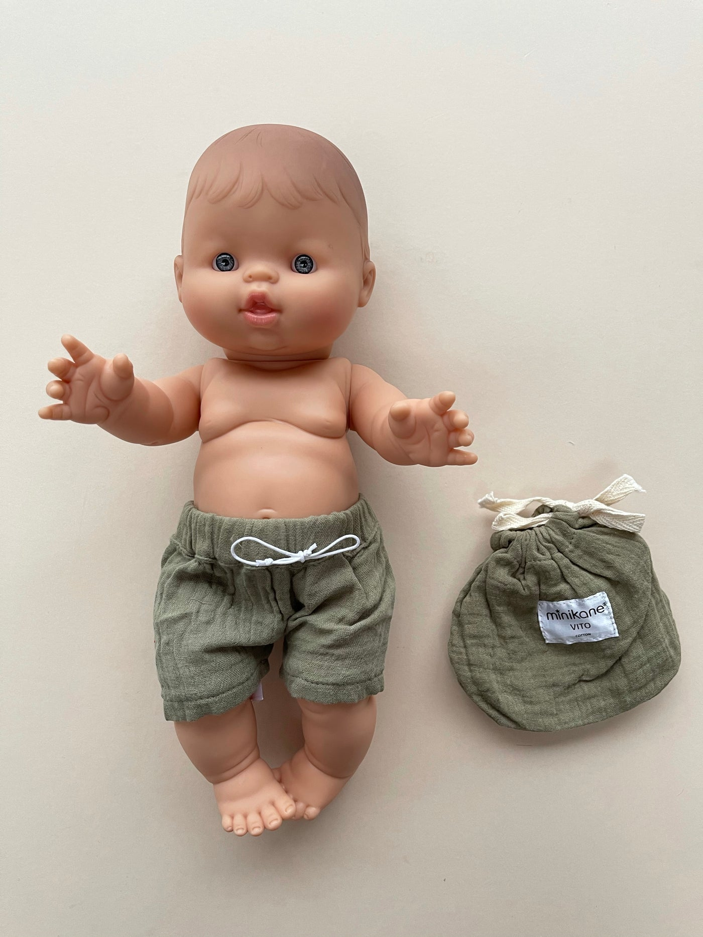 Minikane x Paola Reina Cotton Swim Trunks for 34cm Doll | Olive