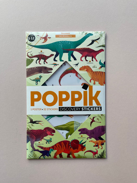 Poppik Discovery Sticker Poster: Dinosaurs | Poster + 32 Stickers