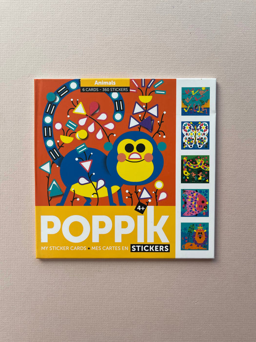 Poppik Creative Sticker Cards: Animals | 6 Cards + 360 Stickers