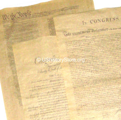 3 Large Poster Size Parchment Documents: Declaration of Independence, Constitution, Bill of Rights