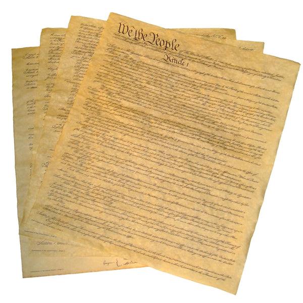 "U.S. Constitution on 4 Small Pages (14"" x 16"" each)"