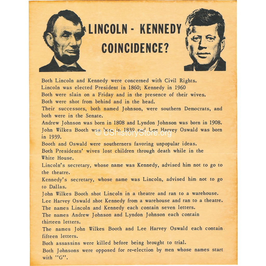 A lot of 'coincidences' concerning all the Lincoln subsequently and additionally Kennedy assassinations can be definitely not in fact as a result awesome.