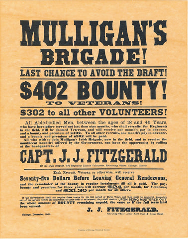 Mulligan's Brigade Civil War Recruiting Poster