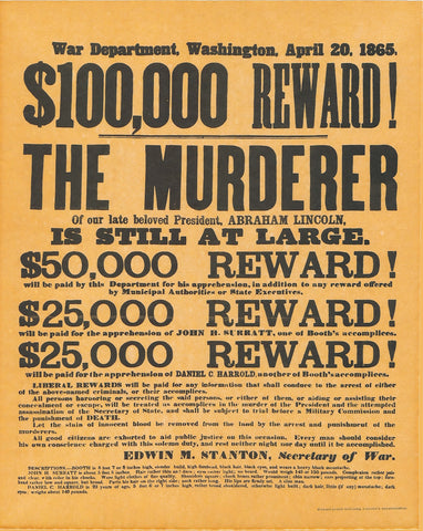 Abraham Lincoln - Assassination Reward Poster, April 20, 1865