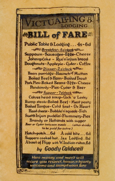 Colonial Bill of Fare Tavern Dinner Menu