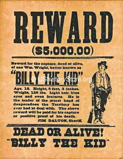 Billy the Kid $5,000 Reward Wanted Poster