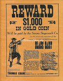 Black Bart $1,000 Reward Wanted Poster 1877